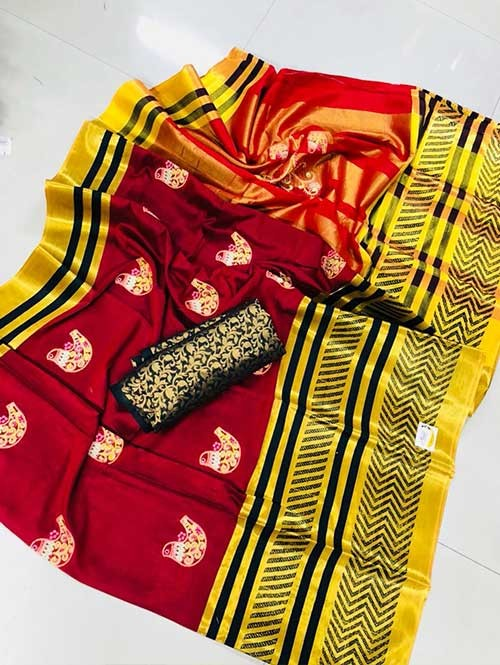 Red Colored Beautiful Embroidered Pure Silk Cotton Saree