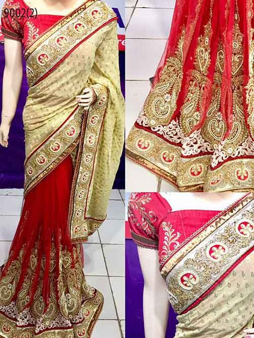 Red Colored Beautiful Embroidered Pure Viscose Pallu and Net Patli Saree
