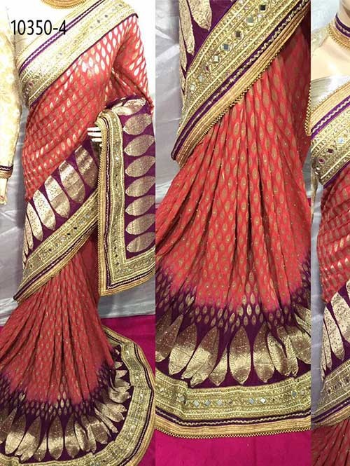 Red Colored Beautiful Embroidered Pure Viscose Silk Saree