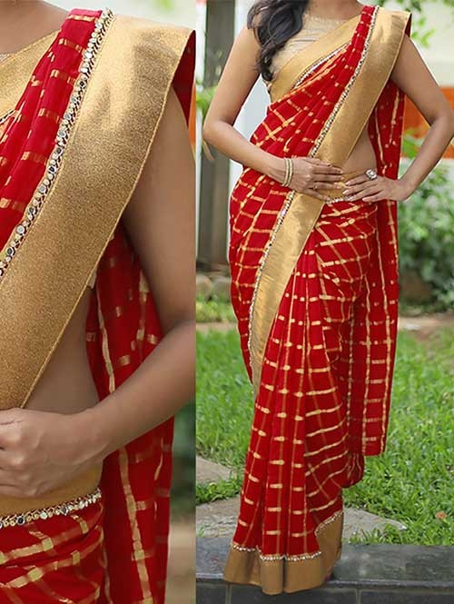 Red Colored Beautiful Embroidered Queen Lycra Foil Saree