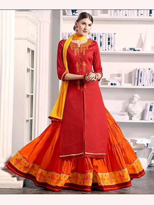 Red Colored Beautiful Embroidered Silk Cotton Lehenga Suit