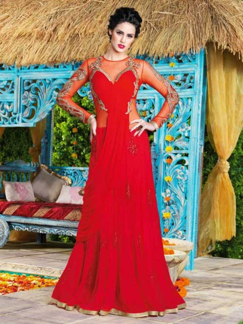 Red Colored Beautiful Embroidered Swiss Georgette Gown
