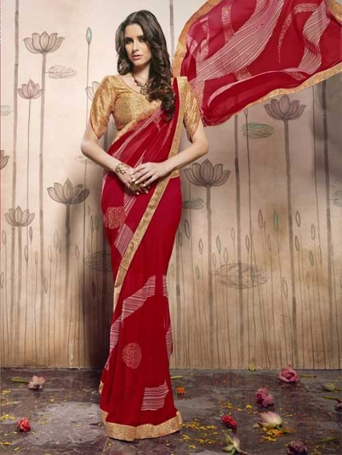 Red Colored Beautiful Faux Georgette Saree with Printed Blouse.