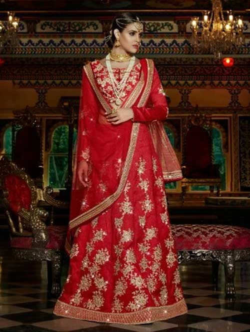 Red Colored Beautiful Heavy Embroidered Australian Silk Lehenga Choli