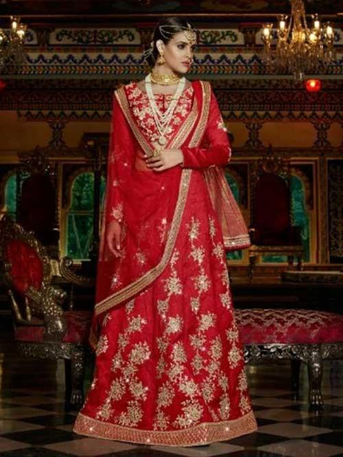 Red Colored Beautiful Heavy Embroidered Australian Silk Lehenga Choli