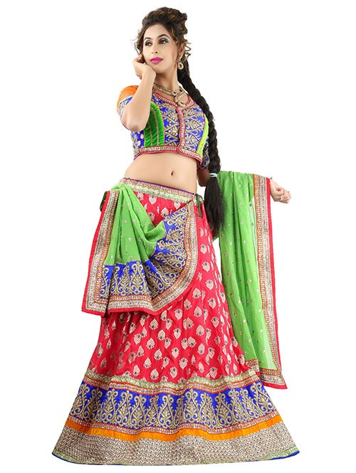 Red Colored Beautiful Heavy Embroidered Banarasi Silk Lehenga With Beautiful Silk Choli
