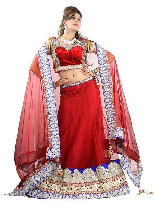 Red Colored Beautiful Heavy Embroidered Net Lehenga With Matching Choli and Dupatta