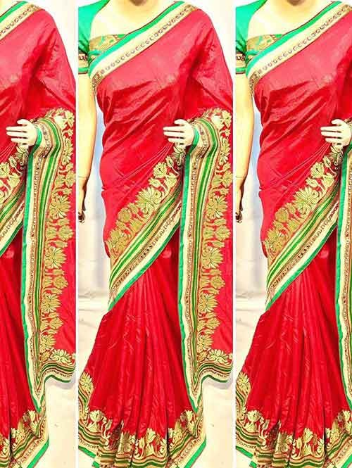 Red Colored Beautiful Heavy Embroidered Original Saree.