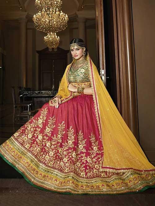 Red Colored Beautiful Heavy Embroidered Sahi Silk Lehenga Choli