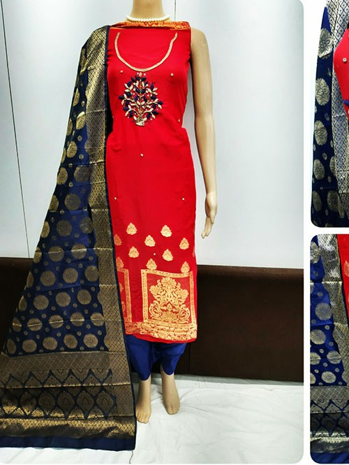 Red Colored Beautiful Jacquard Dress Material.