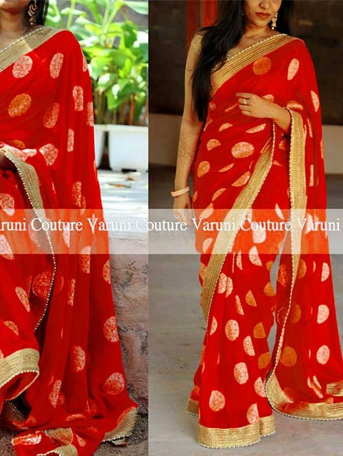 Red Colored Beautiful Jacquard Silk Saree