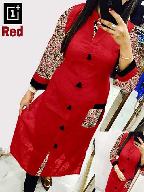 Red Colored Beautiful Kalamkari Printed Straight Slub Cotton Kurti