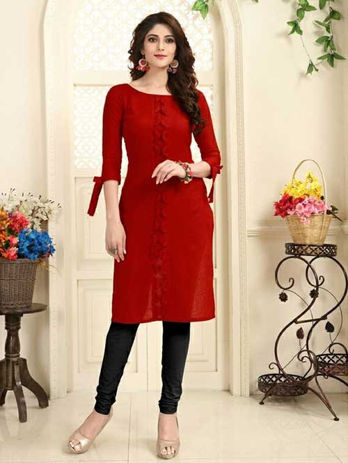 Red Colored Beautiful Linen Cotton Kurti