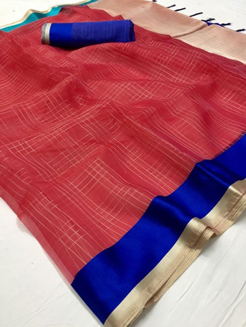 Red Colored Beautiful Organza Chex Saree - Miraki