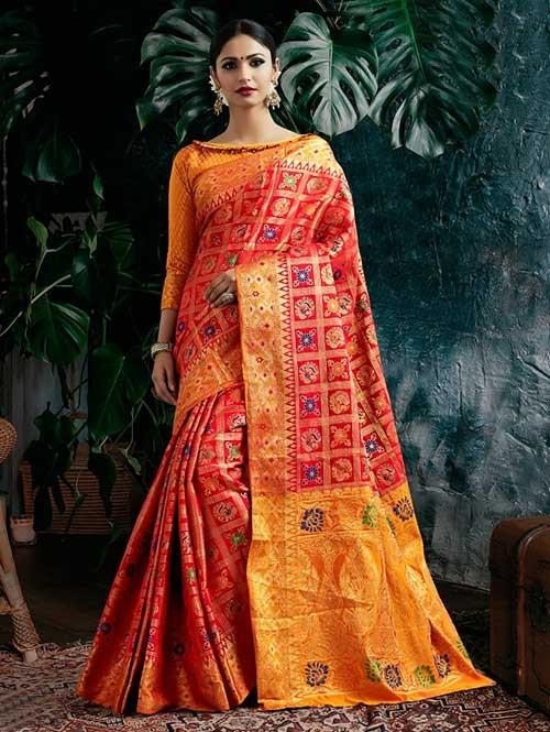 Red Colored Beautiful Patola Silk Saree
