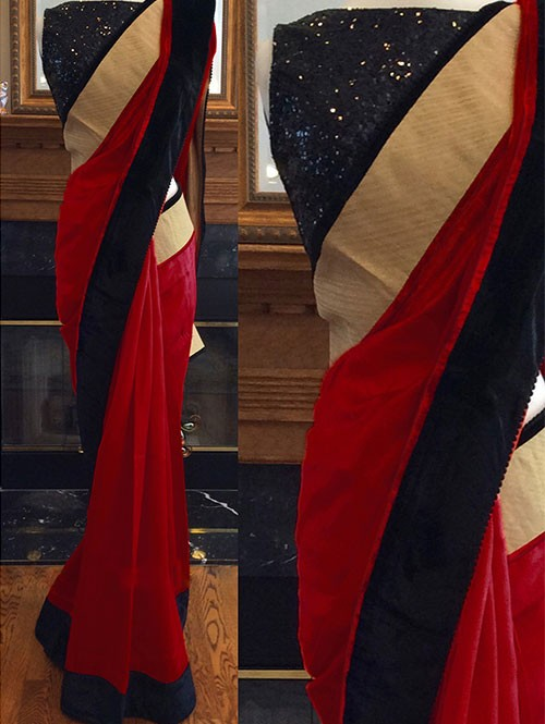 Red Colored Beautiful Embroidered 60m Georgette Saree