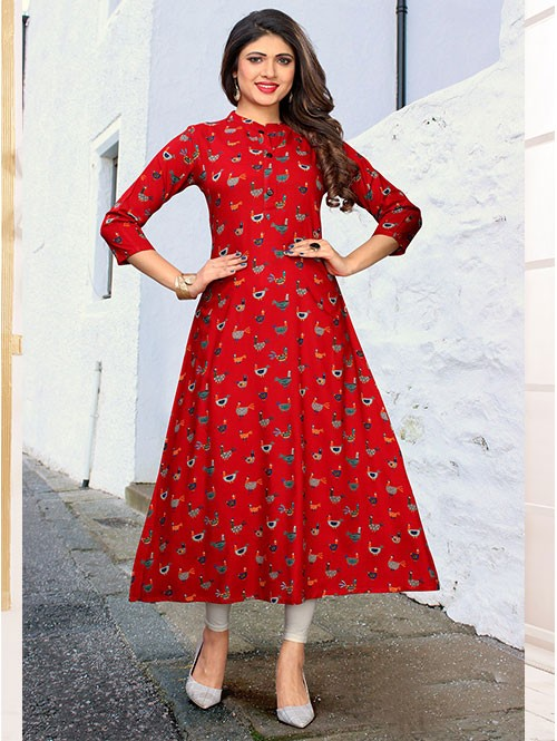 Red Colored Beautiful Printed A-line Rayon Kurti