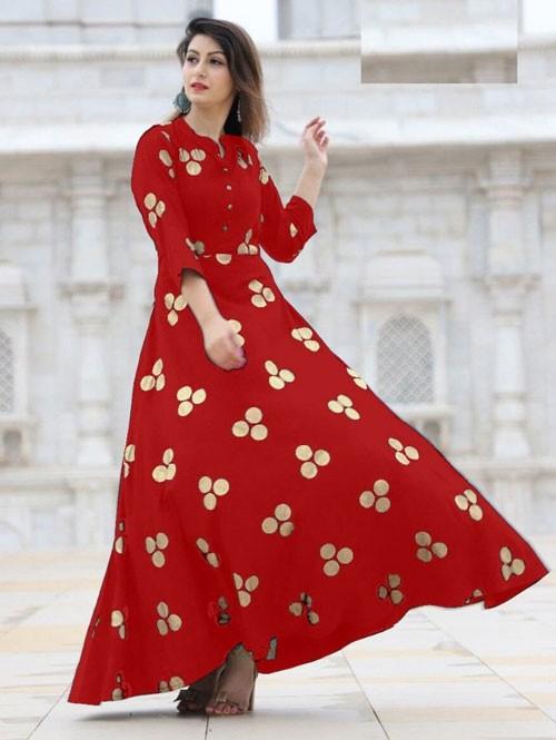 Red Colored Beautiful Printed Indo-Western Rayon Kurti