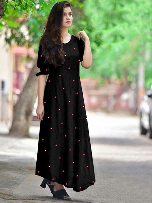 Black Colored Beautiful Embroidered Mirror Foil Rayon Kurti