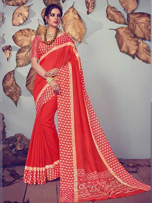 Red Colored Beautiful Printed Kota Silk Saree