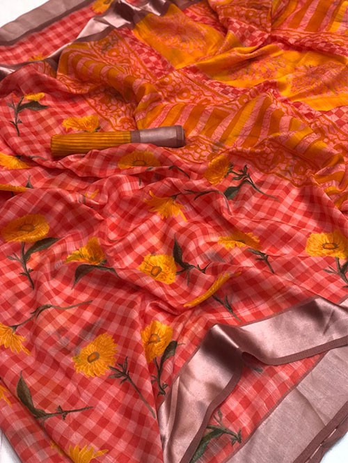 Red Colored Beautiful Printed Linen Saree with Satin Patta
