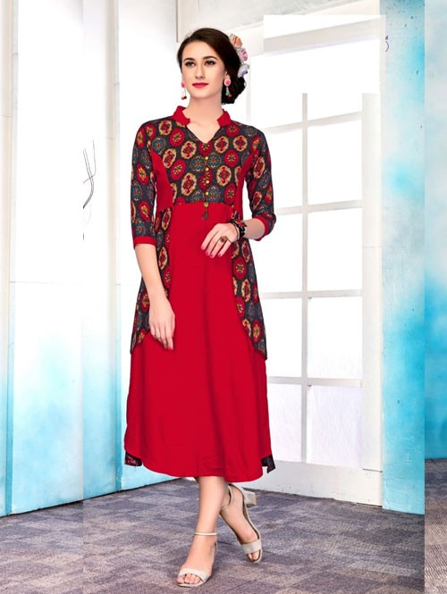 Red Colored Beautiful Printed Princes Cut Rayon Kurti.