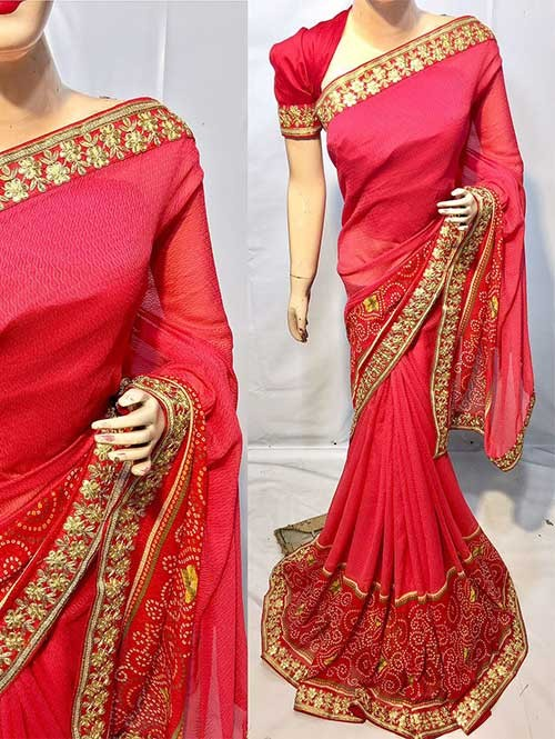 Red Colored Beautiful Printed Pure chiffon soothe fabric Saree which has Beautiful Embroidered Border