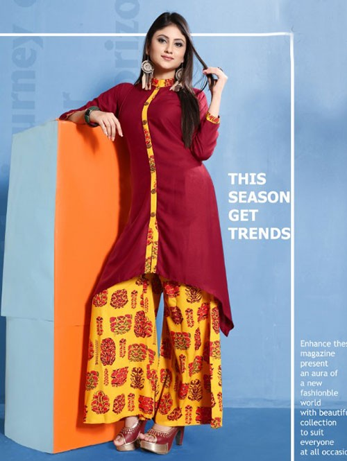 Red Colored Beautiful Printed Shirt Style A-Line Rayon Kurti With Palazzo Set