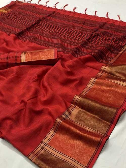 Red Colored beautiful Printed Silk Saree