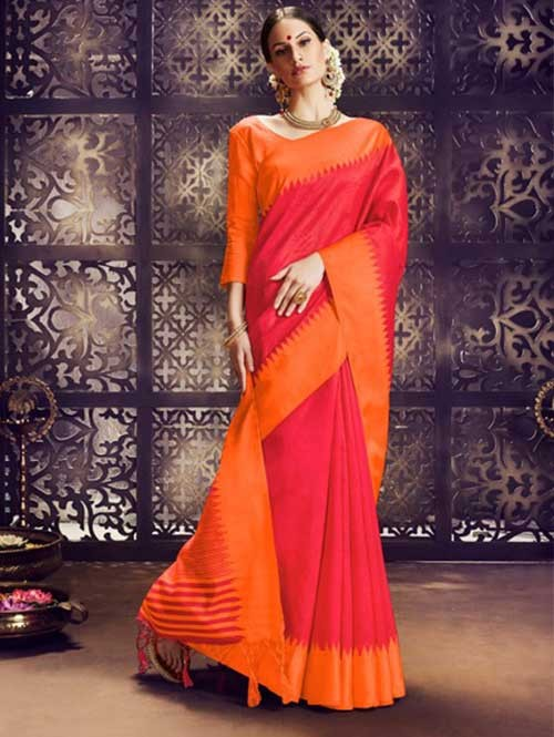 Red Colored Beautiful Raw Silk Saree