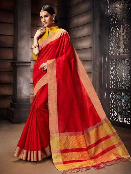 Red Colored Beautiful Raw Silk Saree With Double Blouse