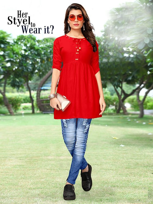 Red Colored Beautiful Rayon Kurti With Fancy Wooden Button