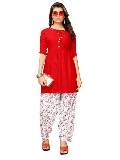 Red Colored Beautiful Rayon Kurti With Printed Patiala