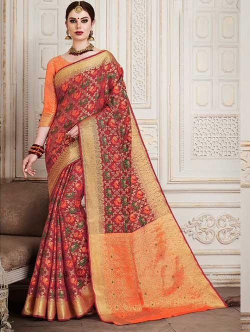 Red Colored Beautiful Silk Weaving Saree