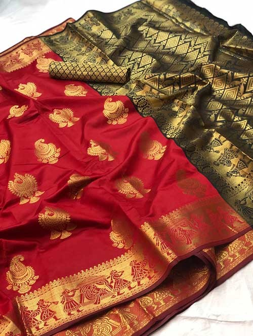 Red Colored Beautiful Soft Banarasi Silk Fancy Saree Online