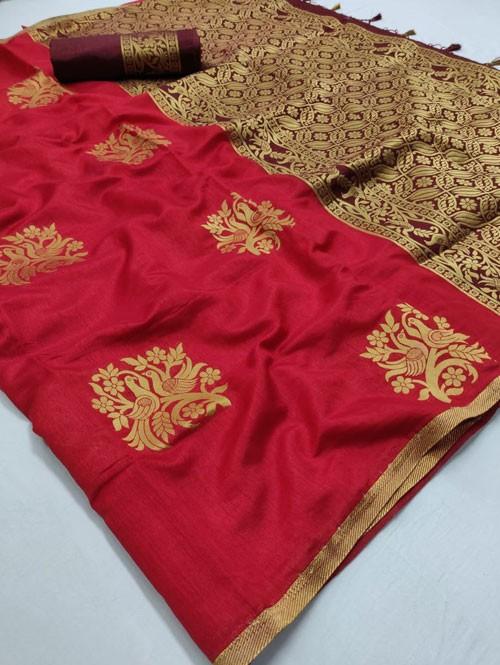 Red Colored Beautiful Soft Banglory Silk With Rich Pallu Saree - Rajkumari