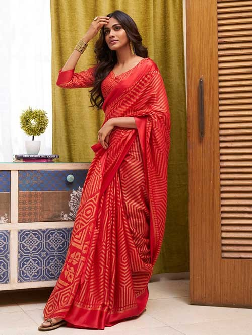 Red Colored Beautiful Soft Brasso Silk Fancy Saree - Elegance