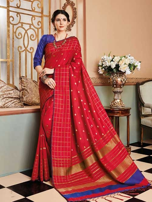 Red Colored Beautiful Soft Silk Fancy Saree Online - Mishika