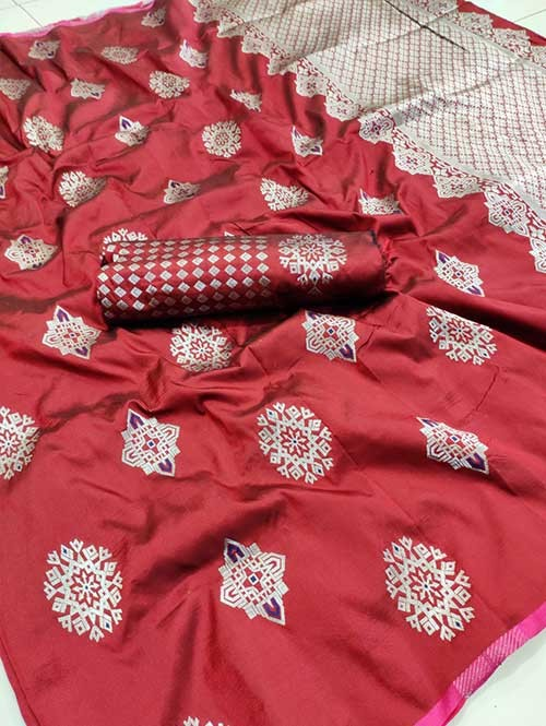 Red Colored Beautiful Soft Silk Traditional Saree Online - Bhagyashree