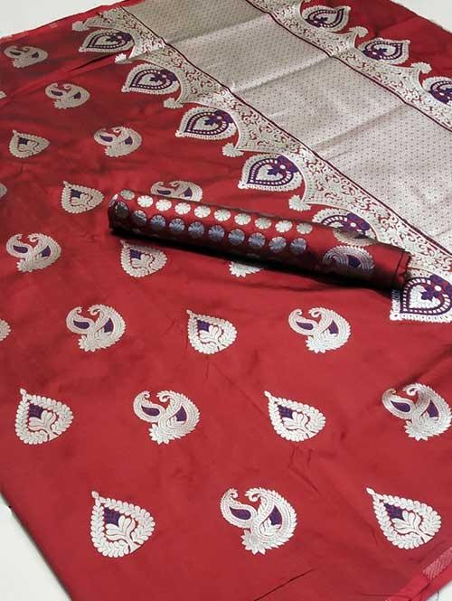 Red Colored Beautiful Soft Silk Traditional Saree Online - Bhagyashree
