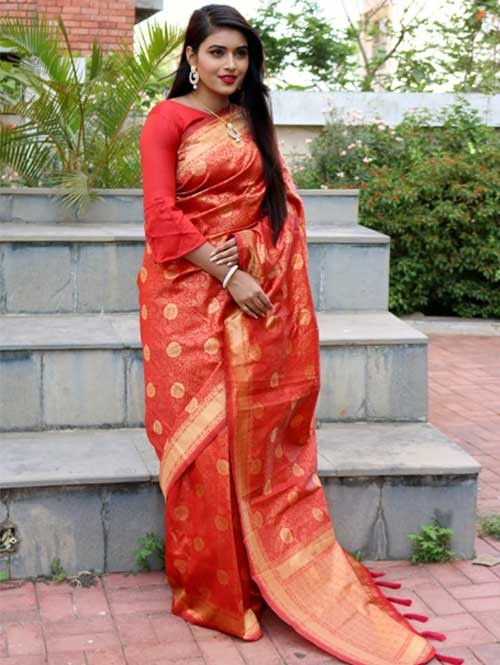 Red Colored Beautiful Soft Silk Traditional Saree Online - Ria