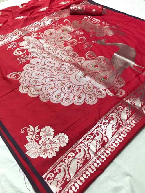 Red Colored Beautiful Soft Weaving Silk Peacock Pallu Designer Saree - saree draping