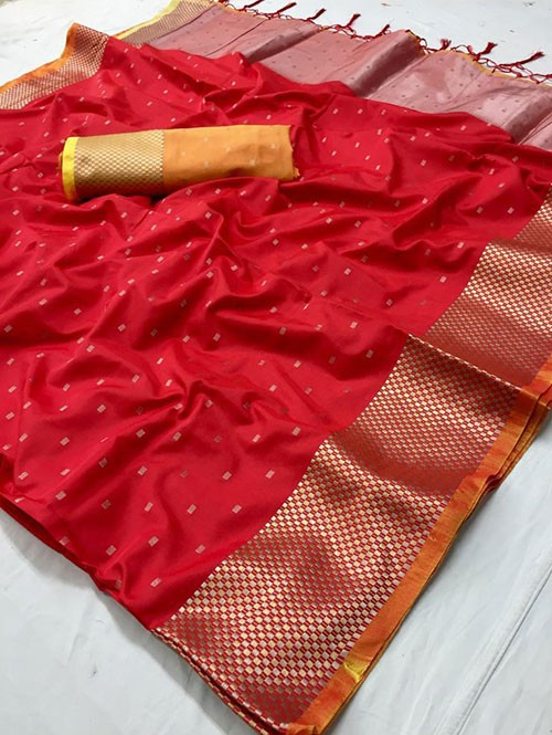Red Colored Beautiful Thousand Butta Of Zari Soft Saree