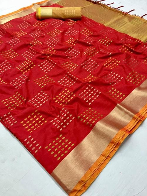 Red Colored Beautiful Thousand Butta Of Zari Soft Saree - Kangan