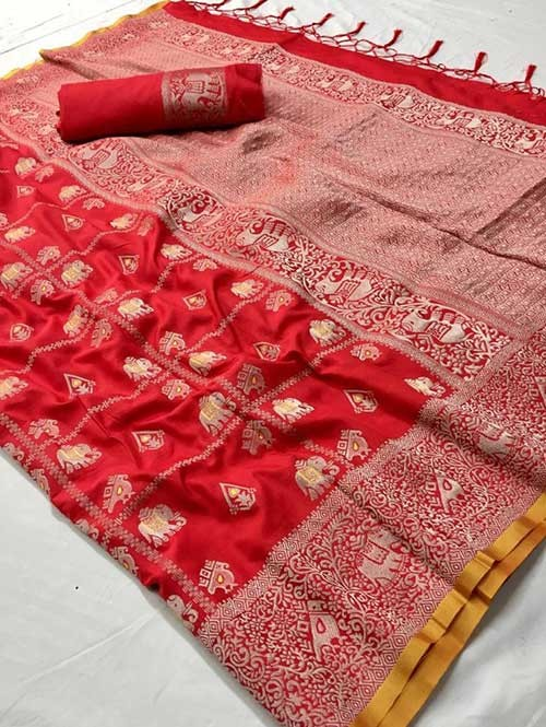 Red Colored Beautiful Weaving Banarasi Silk Saree