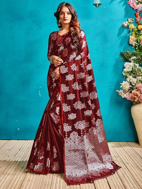 Red Colored Beautiful Weaving Banarasi Silk Saree - Silver