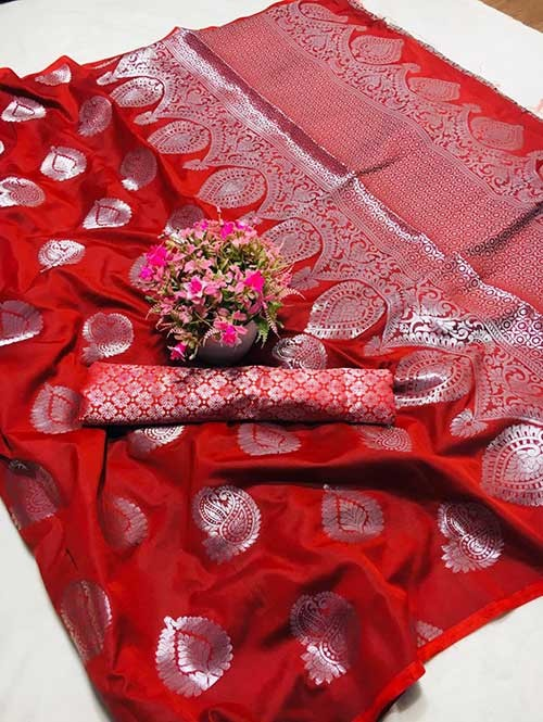 Red Colored Beautiful Weaving Banarasi Silk Saree - Silver