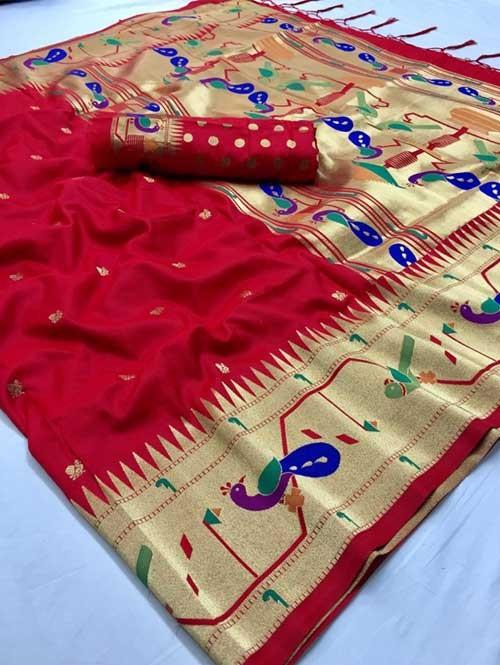 Red Colored Beautiful Weaving Paithani Silk Saree - Paithani