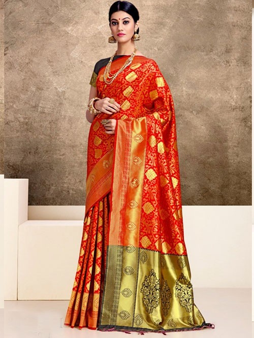 Red Colored Beautiful Weaving Silk Saree - Tanisi