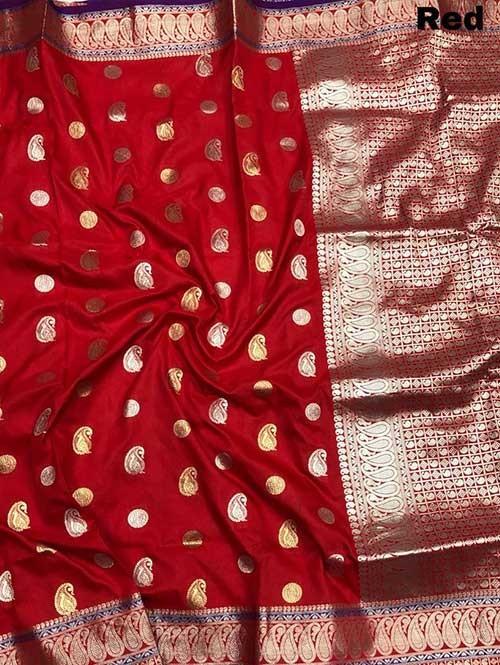Red Colored Beautiful Zari Weaving Saree Online